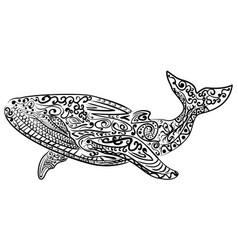 zentangle stylized whale vector image