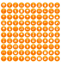100 childrens parties icons set orange vector image