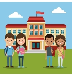back to school group students boys and girls vector image vector image