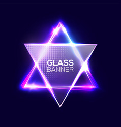 david star neon sign triangle background vector image