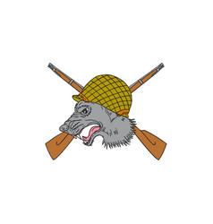 grey wolf head world war 2 helmet drawing vector image vector image