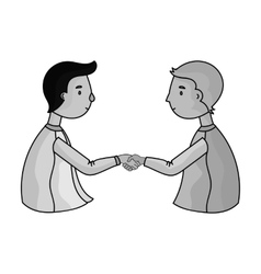 Handshaking of businessmen icon in monochrome vector image vector image