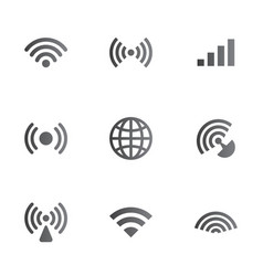 wireless network symbol object set vector image