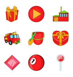 firefighting icons set cartoon style vector image