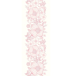 Red line art flowers vertical seamless pattern vector image vector image