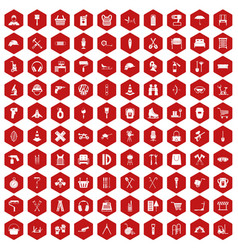 100 outfit icons hexagon red vector