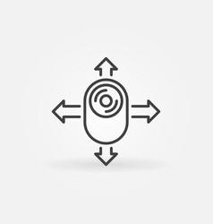 360 camera with arrows outline concept icon vector