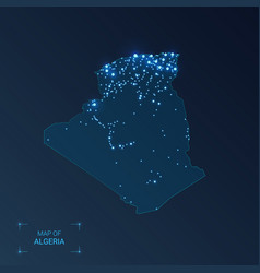 Algeria map with cities luminous dots - neon vector
