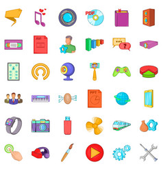 Application for mobile icons set cartoon style vector