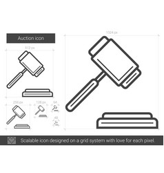 Auction line icon vector