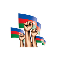 Azerbaijan and hand on white background vector
