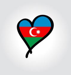 Azerbaijani flag heart-shaped hand drawn logo vector