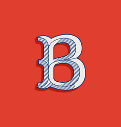 B letter logo in classic sport team style vector