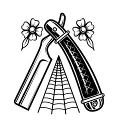 barber razor in tattoo style design element for vector image