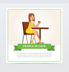 Beautiful woman sitting at the table drinking vector