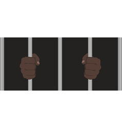 Black man fists holding prison bars vector image