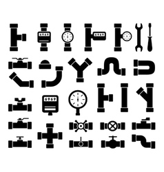 Black plumbing pipes set vector