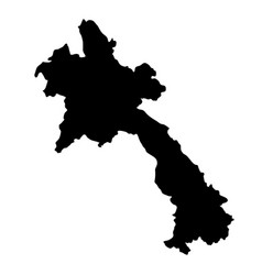 black silhouette country borders map of laos on vector image