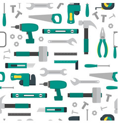cartoon hand tools background pattern on a white vector image