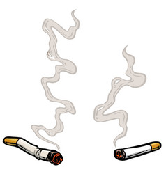 cartoon lit cigarettes with smoke vector image