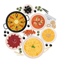 Circle typical tapas and dishes spanish vector