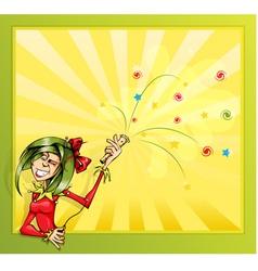 clown girl invitation card vector image