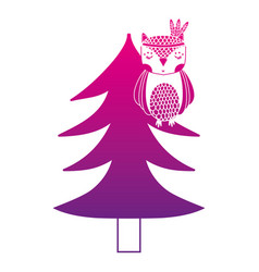 Color silhouette ethnic owl animal in pine tree vector