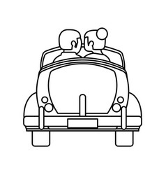 Couple car honeymoon travel outline vector