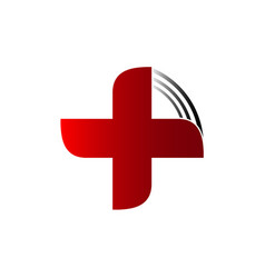 cross red plus for healthy life and medicine vector image