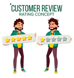 Customer review happy and unhappy man user vector