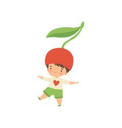 Cute little boy wearing cherry berry costume vector