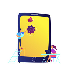 developers and huge mobile phone with gears vector image