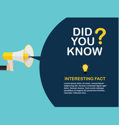 did you know interesting fact label sticker vector image