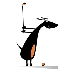 Dog playing golf vector