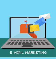 email marketing with mailbox on laptop receiving vector image