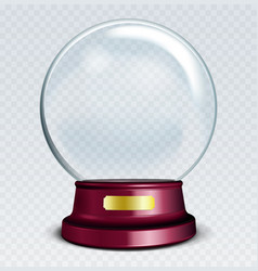 Empty snow globe white transparent glass sphere vector
