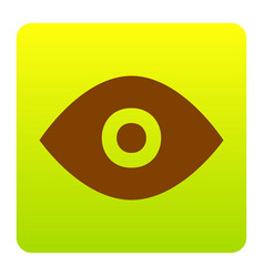 eye sign brown icon at green vector image
