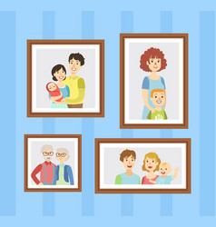 family photos set pictures in wooden frames vector image