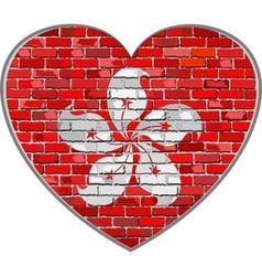 Flag of Hong Kong on a brick wall in heart shape vector