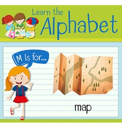 Flashcard letter M is for map vector