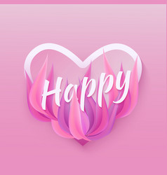 flat happy inscription on purple leaves background vector image