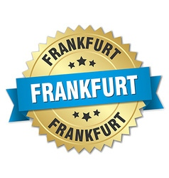 Frankfurt round golden badge with blue ribbon vector