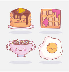 fried egg cereal pancake and waffle menu breakfast vector image