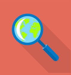globe in magnified glass icon flat style vector image