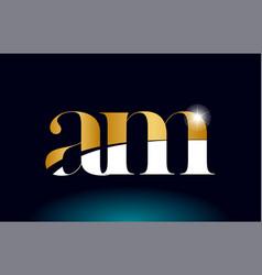 Gold golden alphabet letter am a m logo vector
