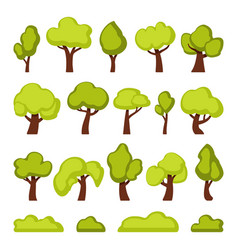 green forest trees and bushes cartoon vector image