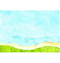 Green grass meadow beside beach watercolor hand vector