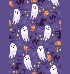 halloween ghost seamless pattern on purple vector image