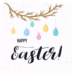 happy easter greeting card easter eggs vector image