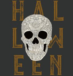 happy halloween skull vector image